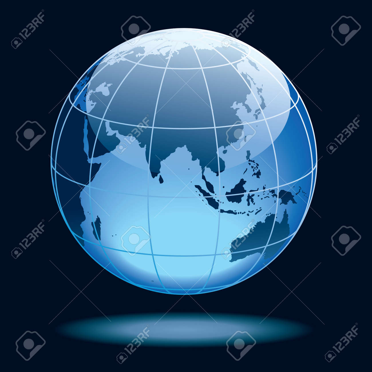 Globe showing earth with continents: Asia with Africa and Australia. Stock Vector - 7558574