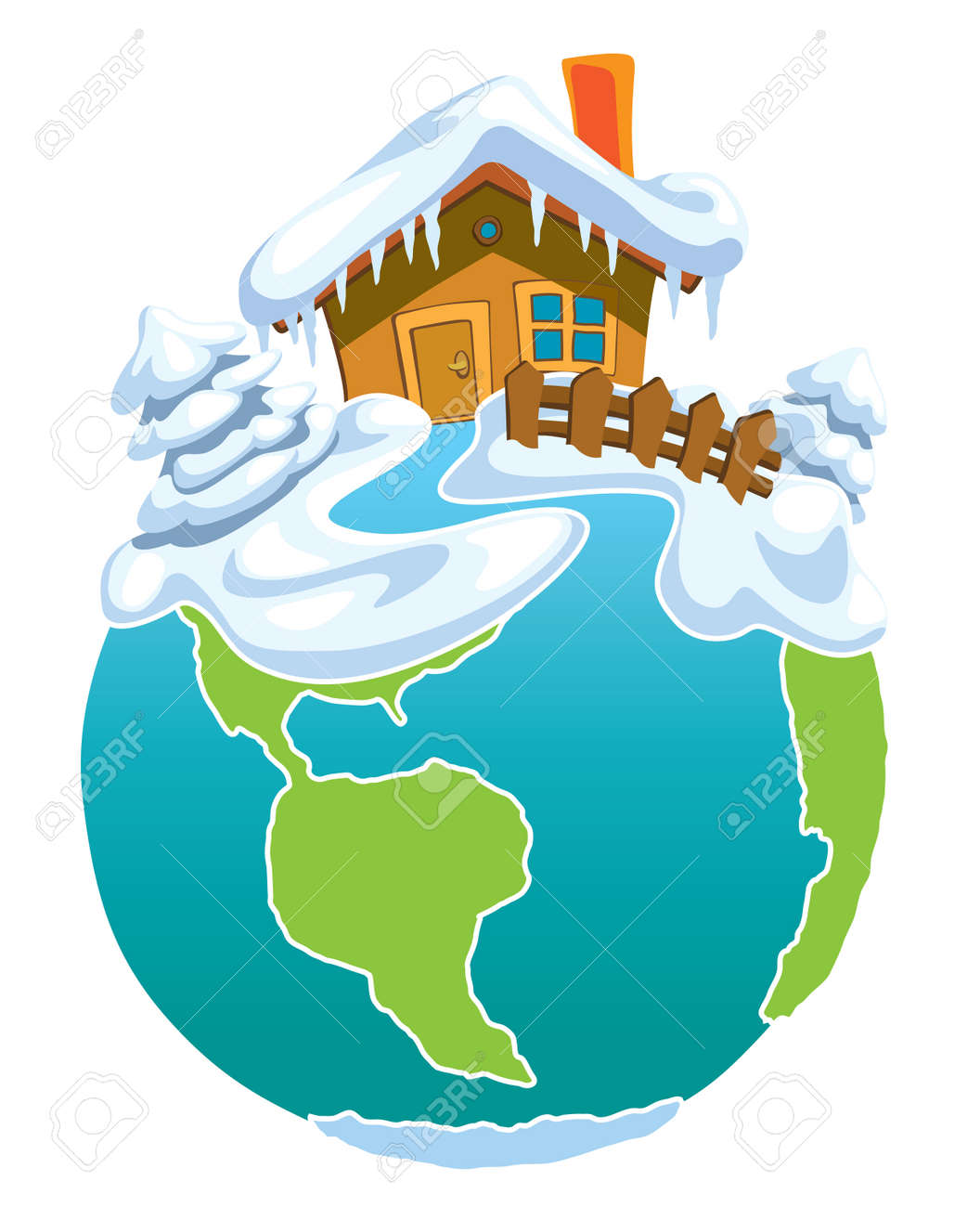north pole globe with santa claus house royalty free cliparts rh 123rf com north pole clipart free north pole clipart images