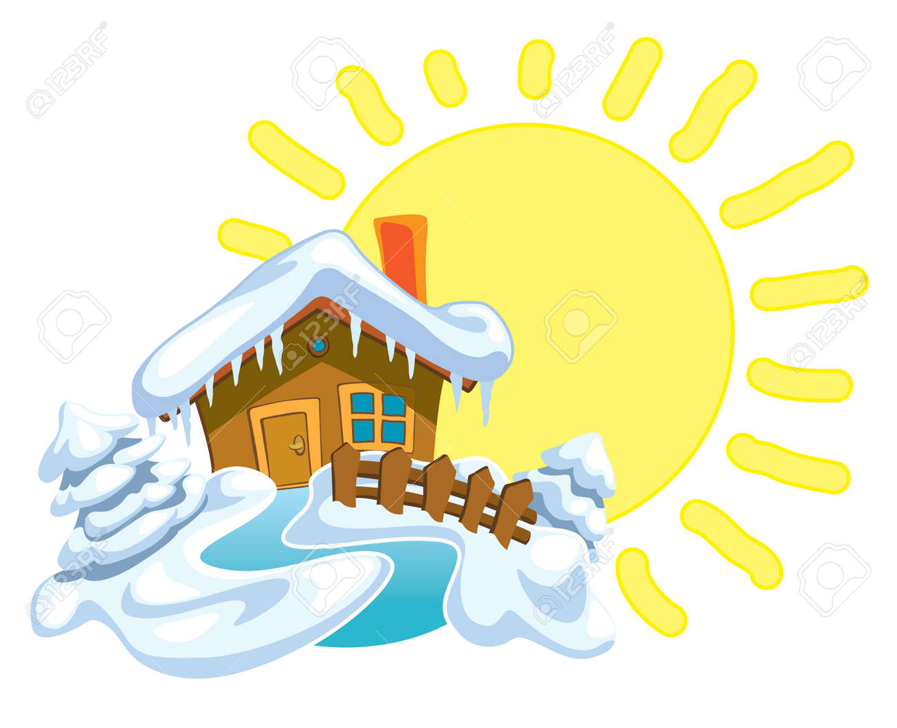North Pole, Santa Claus house and winter background with shining sun Stock Vector - 7697760