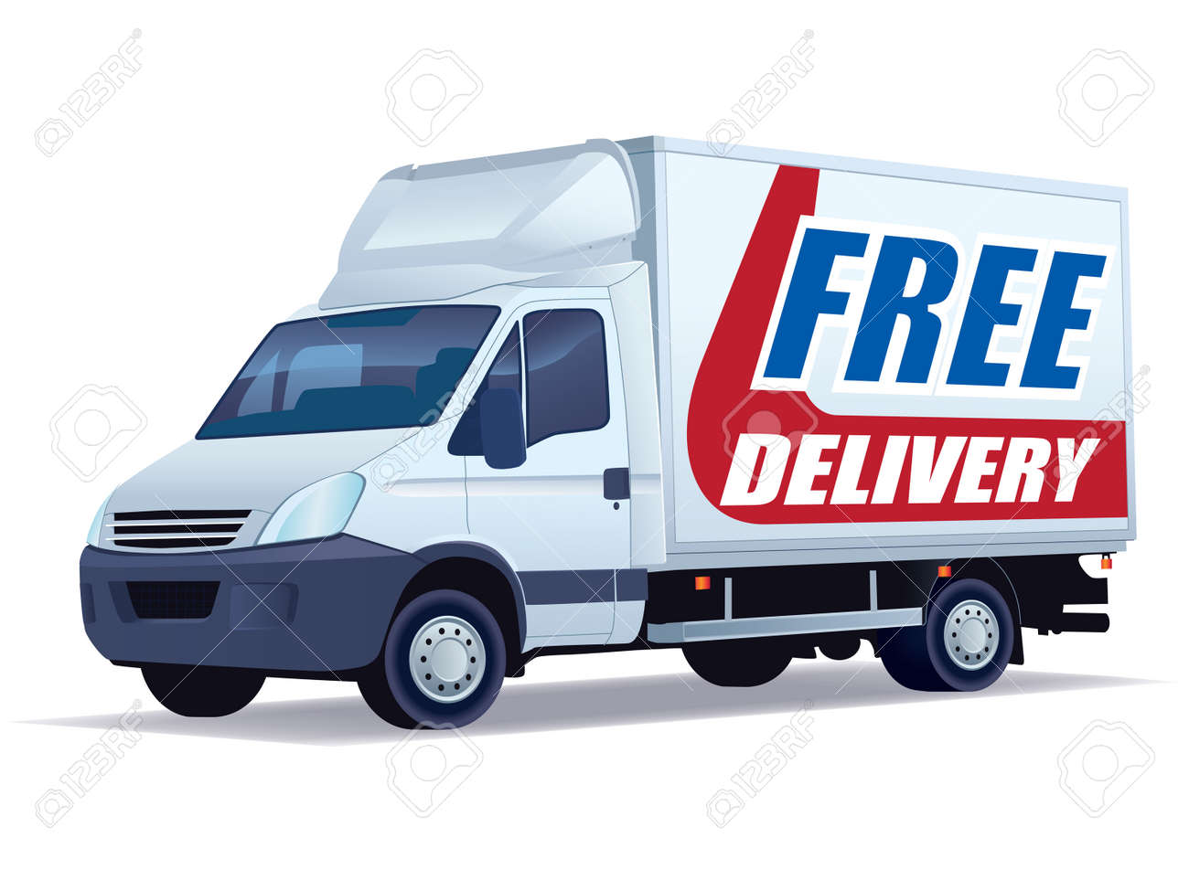 White commercial vehicle - delivery truck with a sign free delivery - 8042154