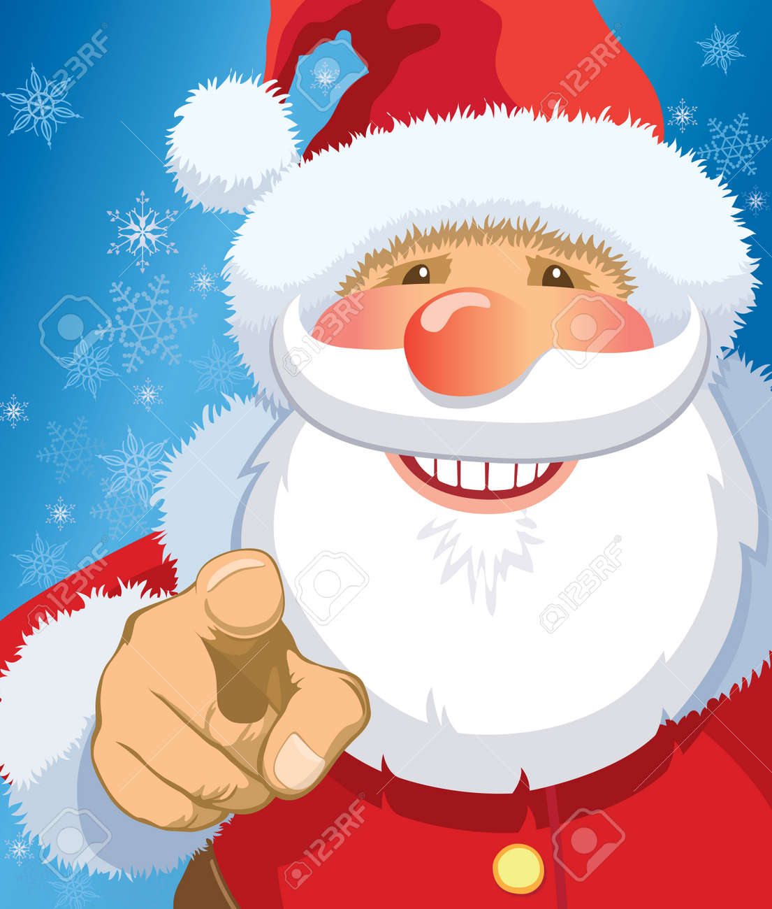 Smiling Santa Claus pointing at you, snowflakes in the background. - 8189262