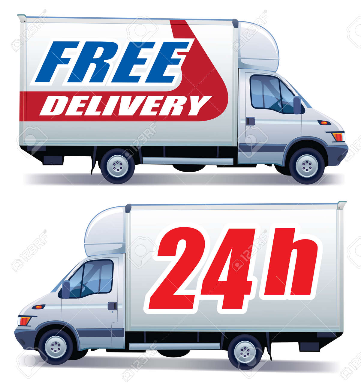 White commercial vehicle - delivery truck with a sign free delivery - 8189271