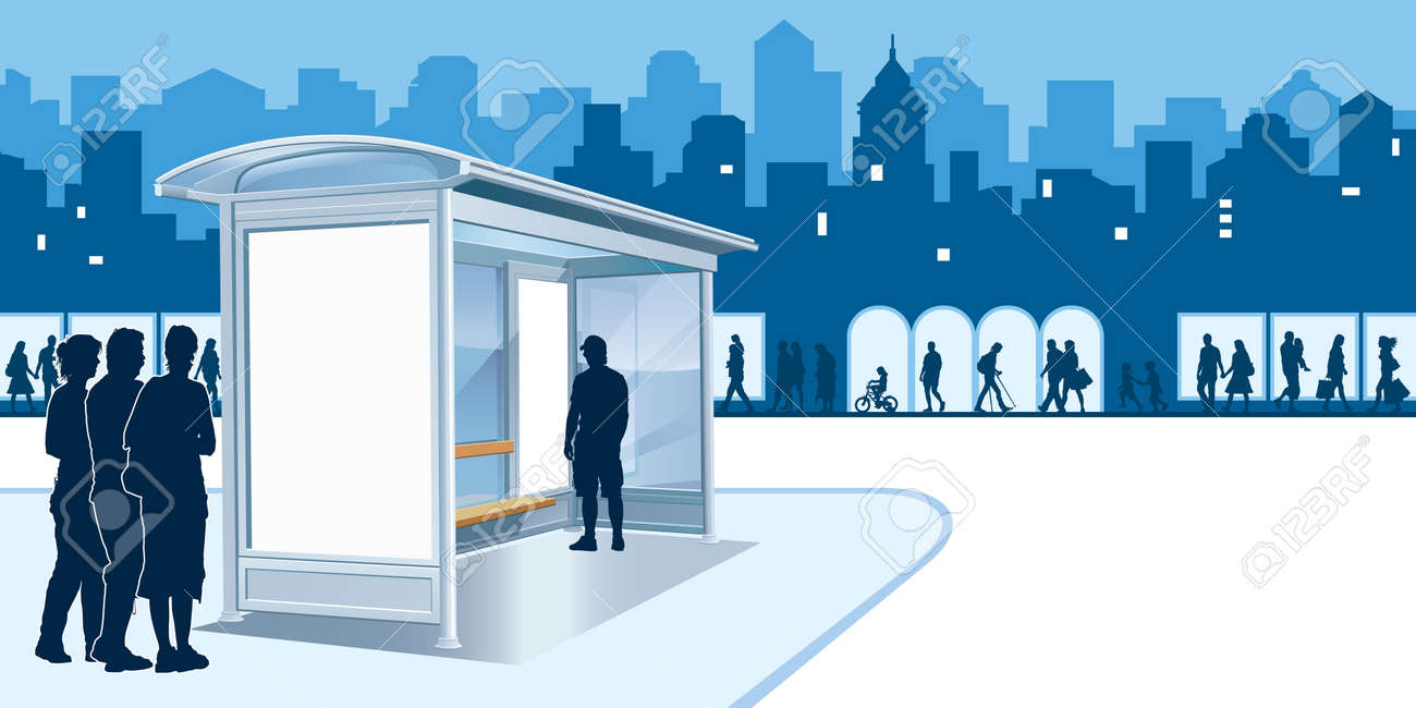 Bus stop with blank advertising billboard and people on a street Stock Vector - 8524279