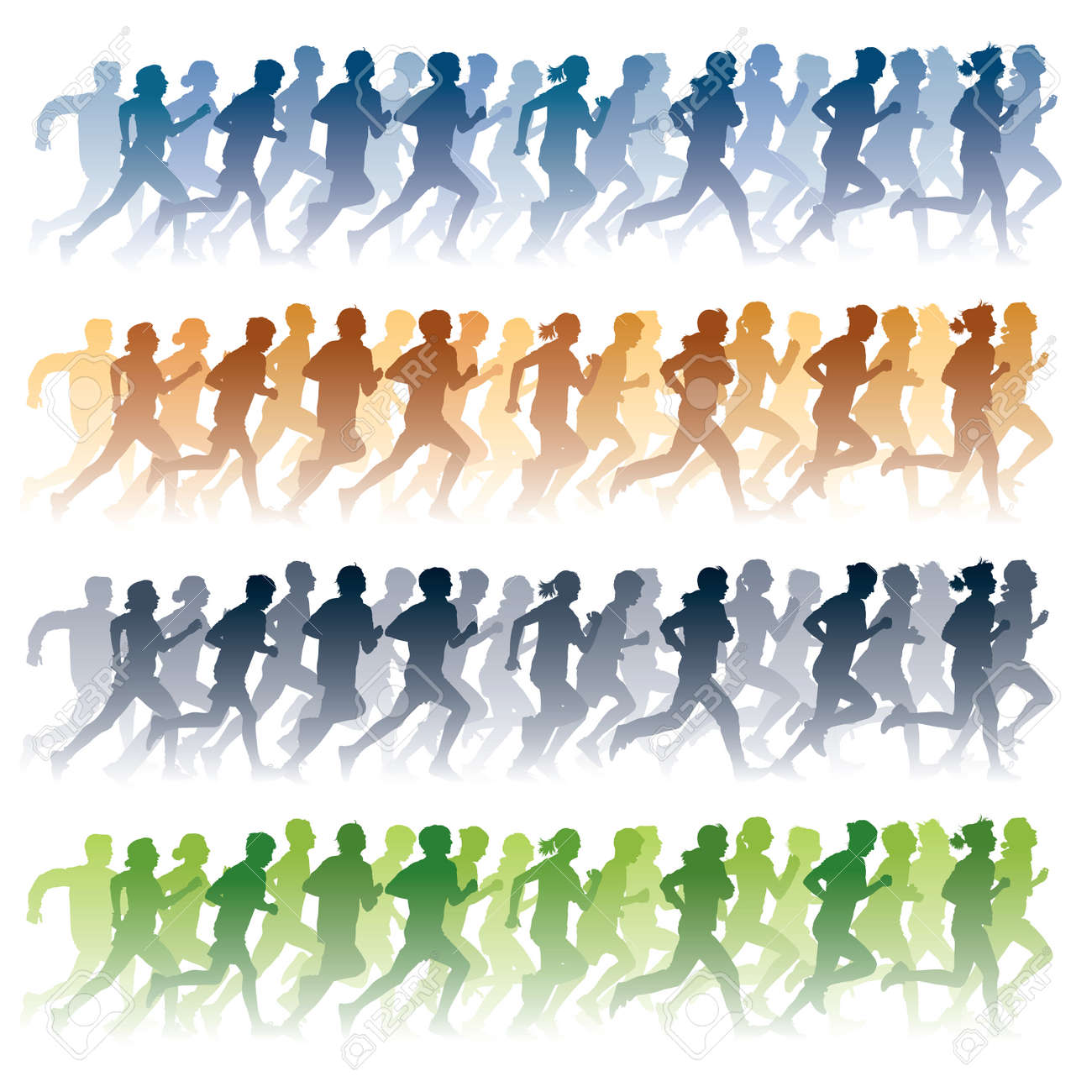 Crowd of young people running Stock Vector - 8524299