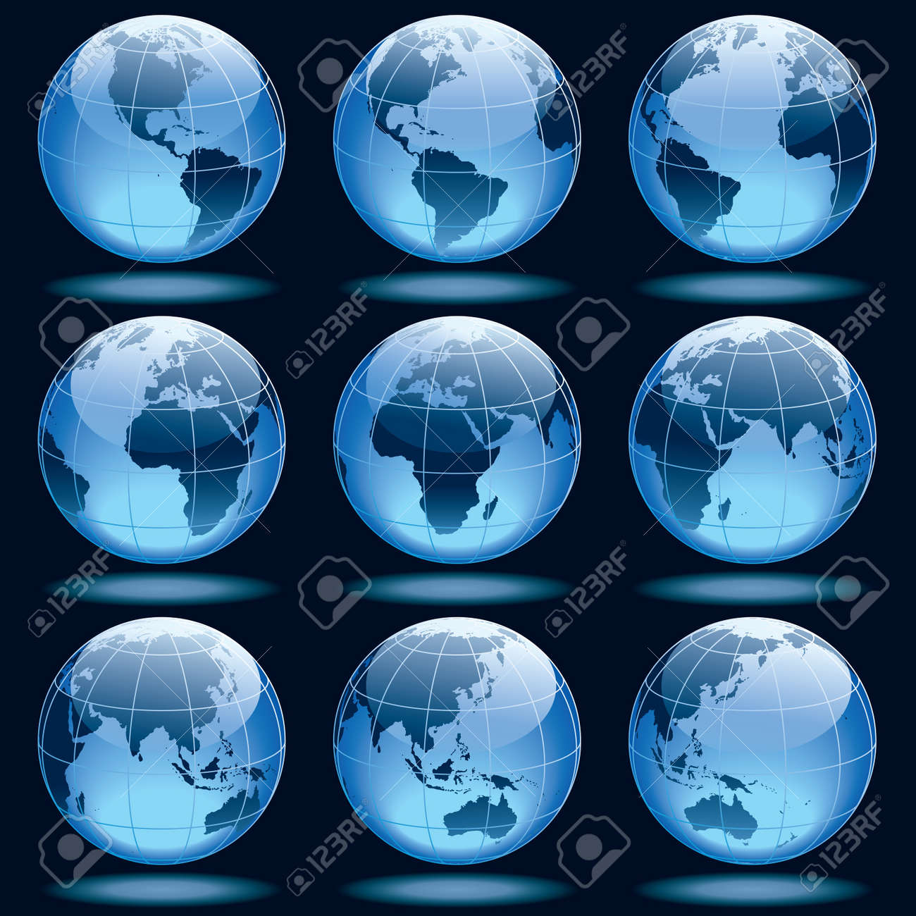 Set of nine globes showing earth with all continents. - 9930722