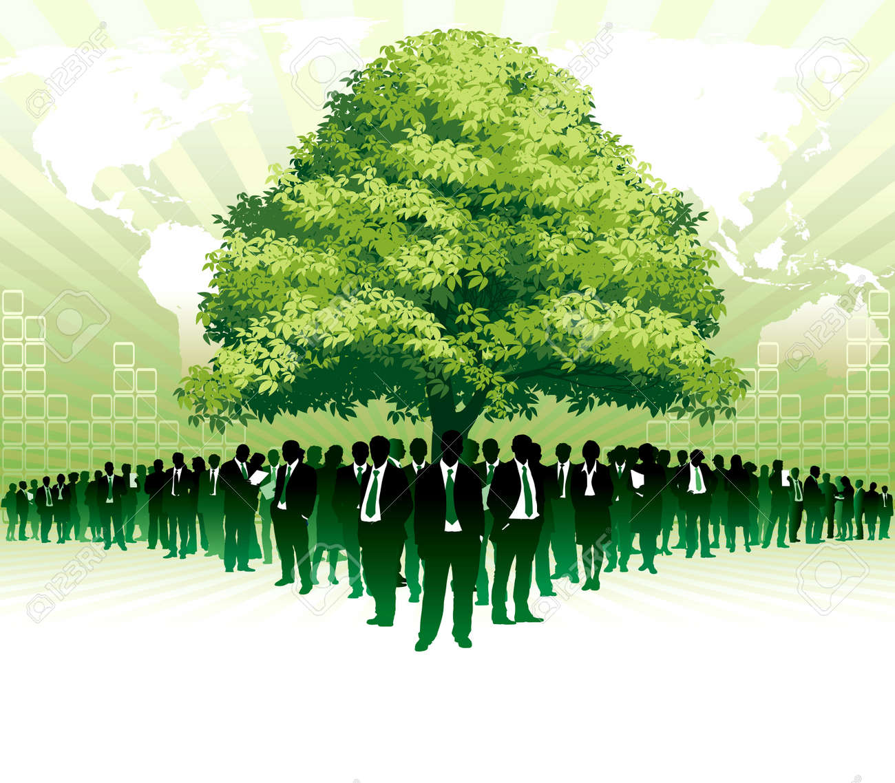 Businesspeople are standing under a big green tree in front of large world map Stock Vector - 9930725