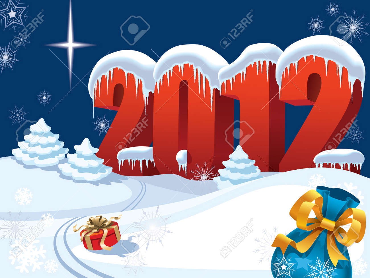 New Year night and presents lost by Santa Claus Stock Vector - 11124654