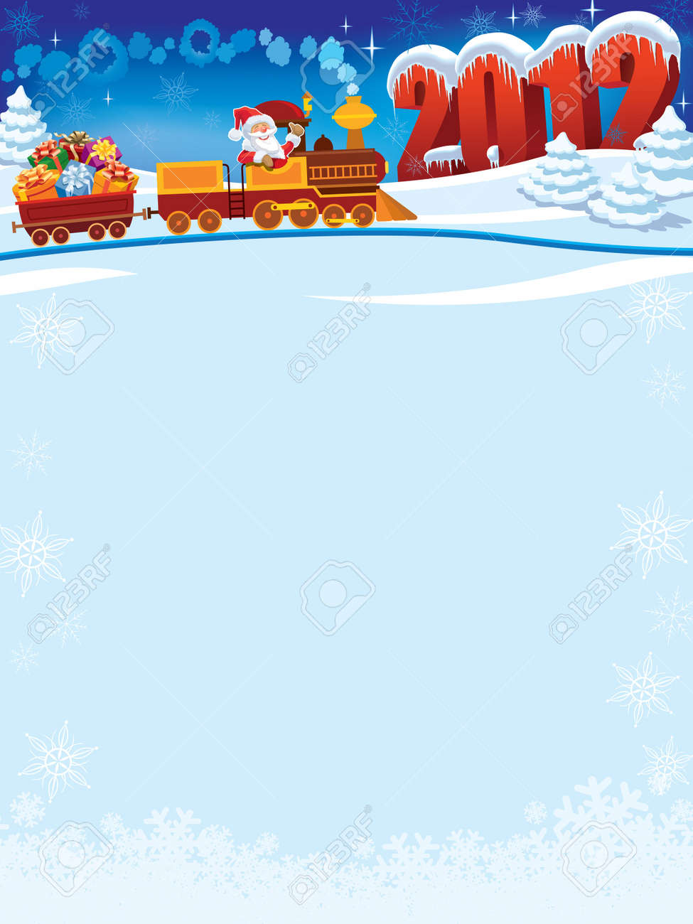 Santa Claus in a toy train with gifts, New Year in the background. Stock Vector - 11124655
