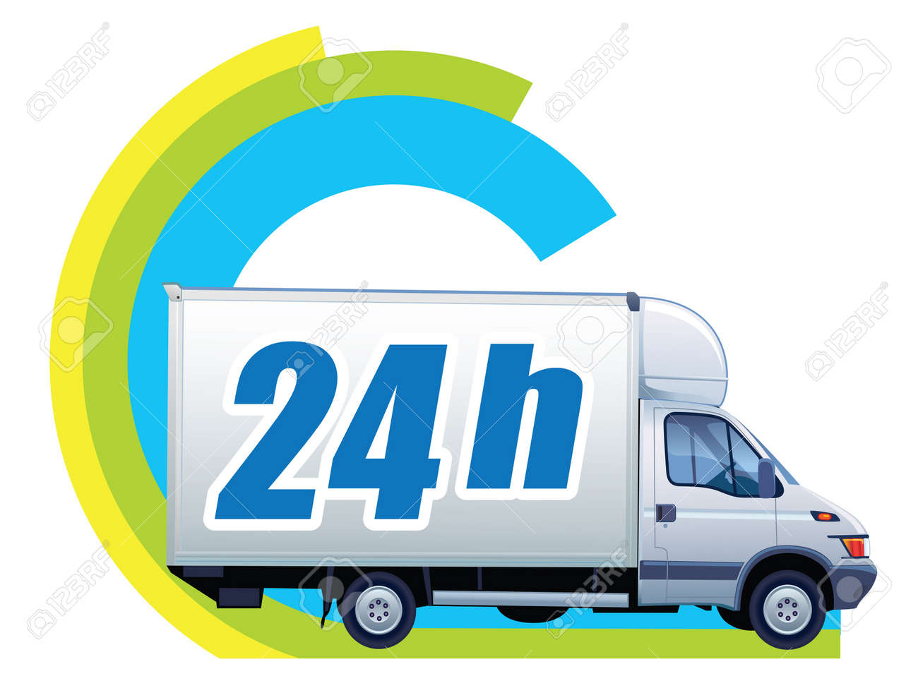 White delivery truck in a sign free delivery Stock Vector - 15058178