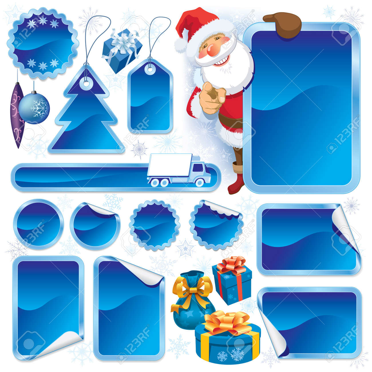 Collection of blue stickers and Christmas design elements Stock Vector - 15843324
