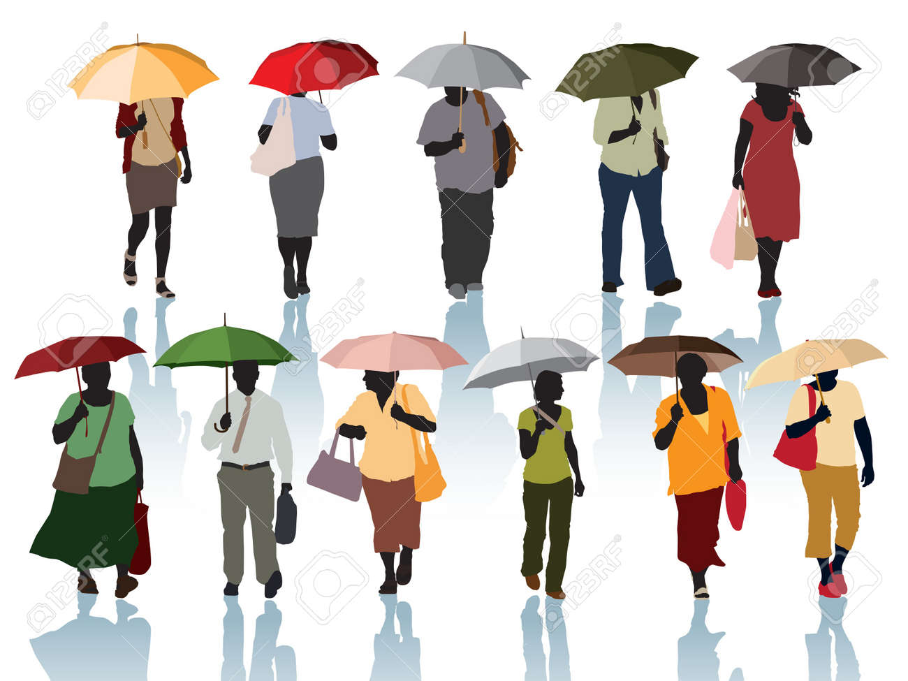 Collection of silhouette - people walking with umbrellas. Stock Vector - 15931569