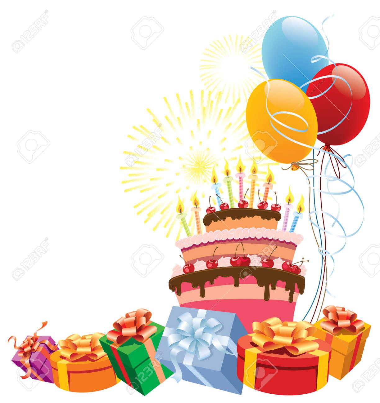 Torta De Cumpleaños Colorida Con Globos Y Regalos Ilustraciones