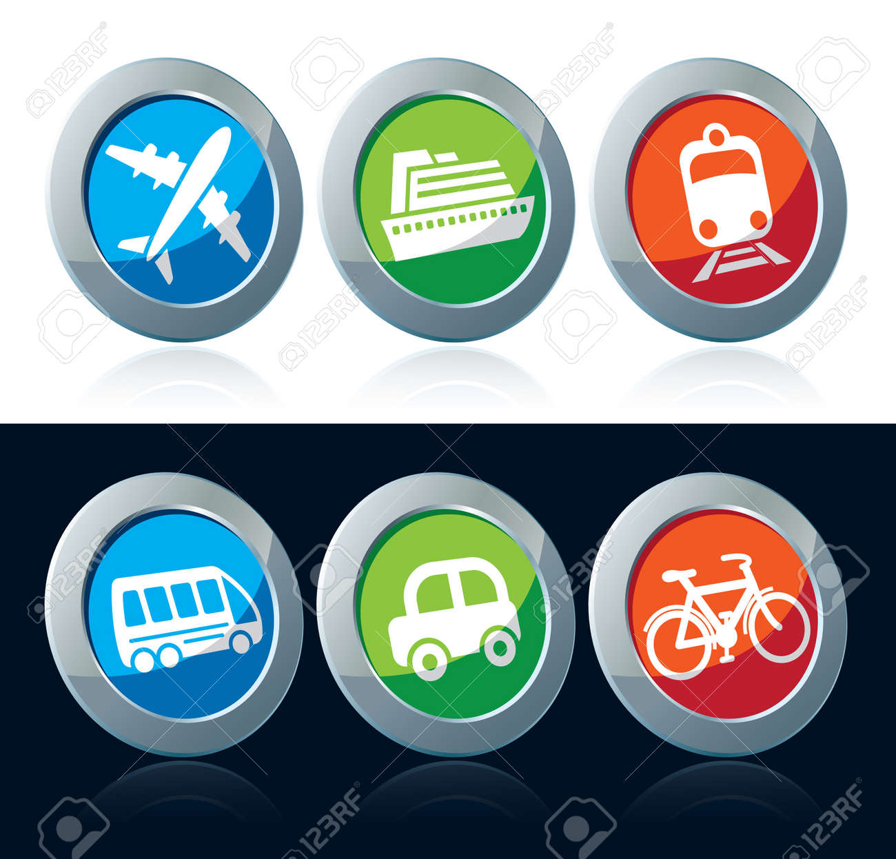 Travel icon set over white and black background Stock Vector - 16643471
