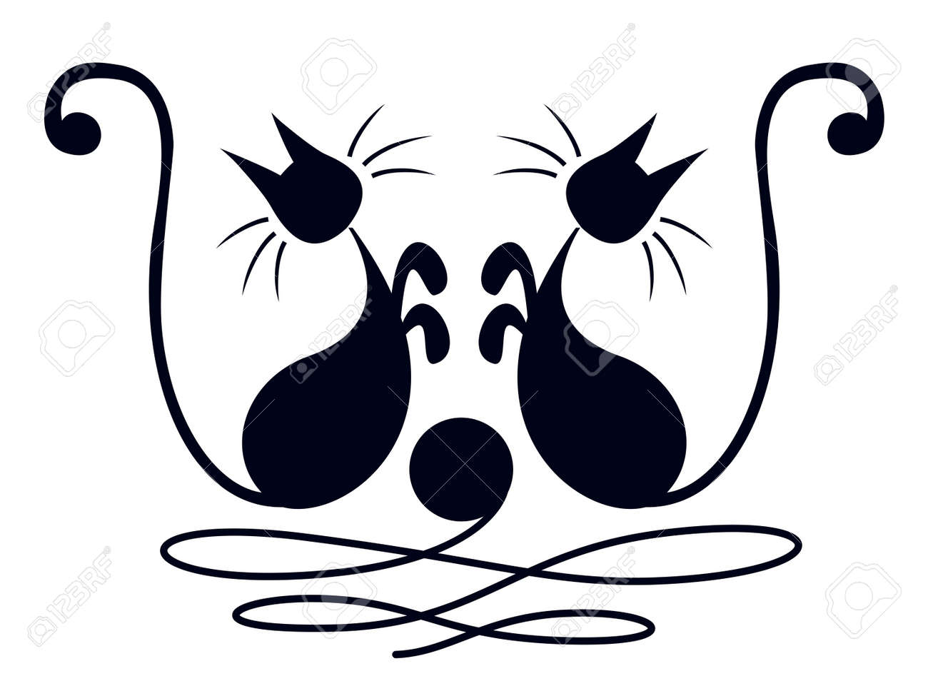 Two black cats playing with skein of wool over white background Stock Vector - 16682724