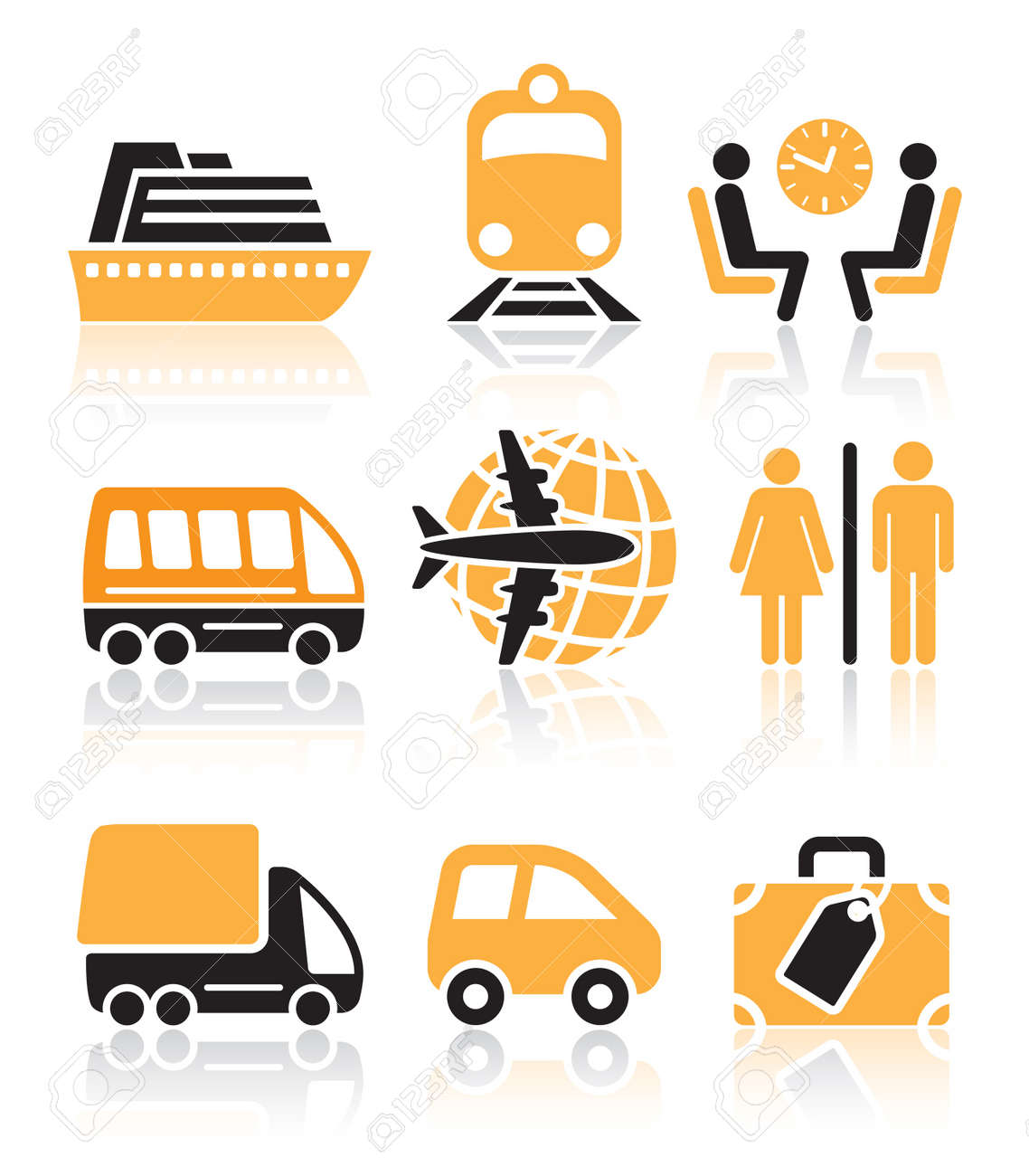 Colorful travel icons set over white background Stock Vector - 16789588