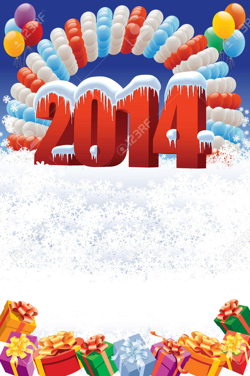 New Year 2014 on white winter background with balloons and gifts Standard-Bild - 21775482