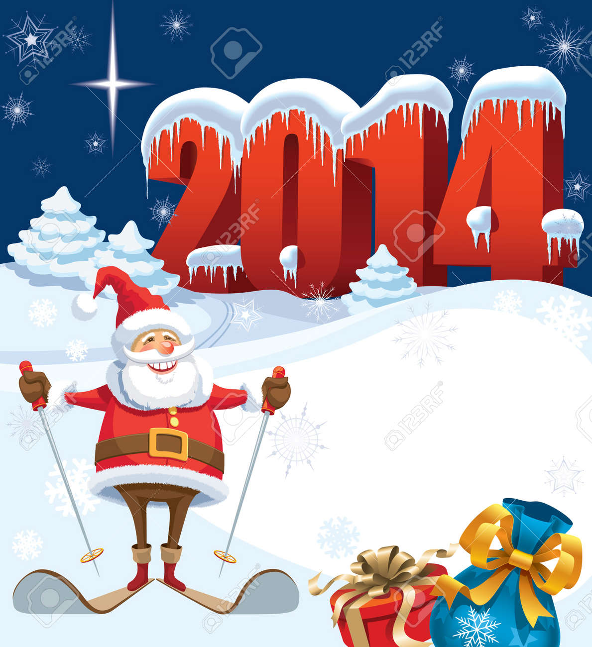 New Year and skiing santa with gifts, christmas decoration ready for your message Stock Vector - 21775478