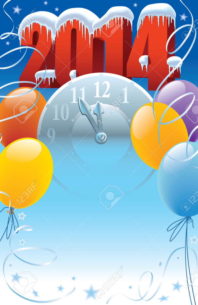 New Year 2014 with clock and balloons decoration Standard-Bild - 21775480