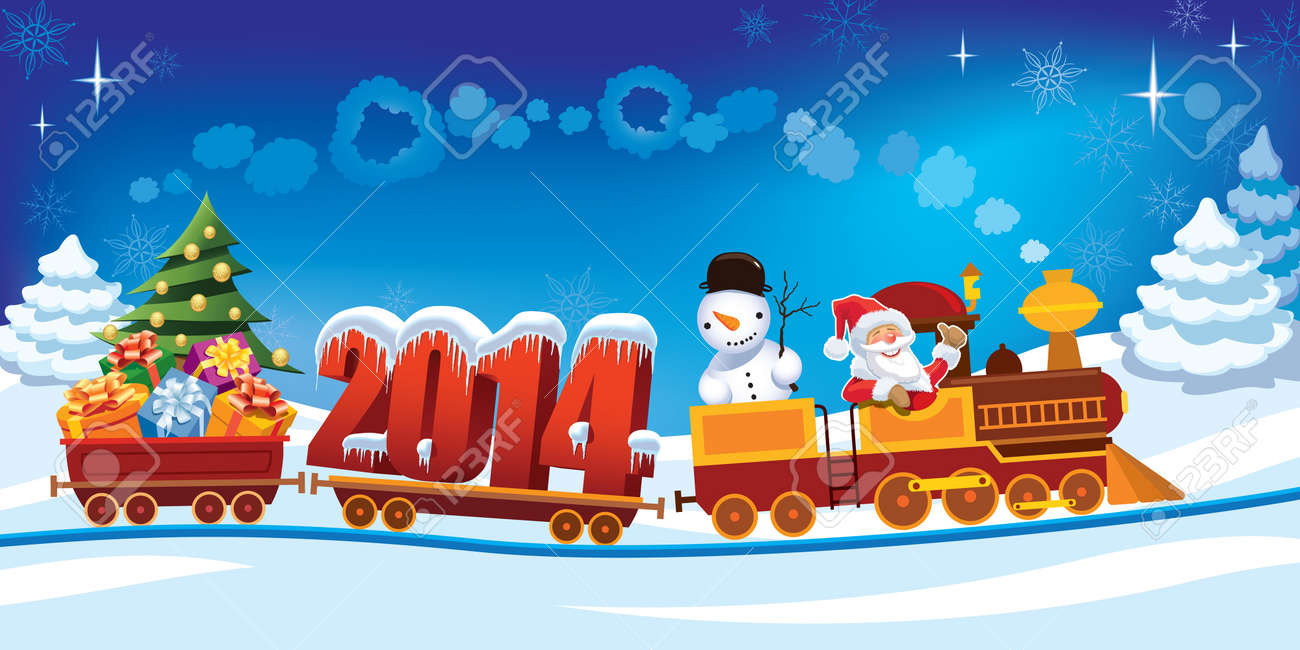 New Year 2014 and Santa Claus in a toy train with gifts, snowman and christmas tree. Standard-Bild - 22010845