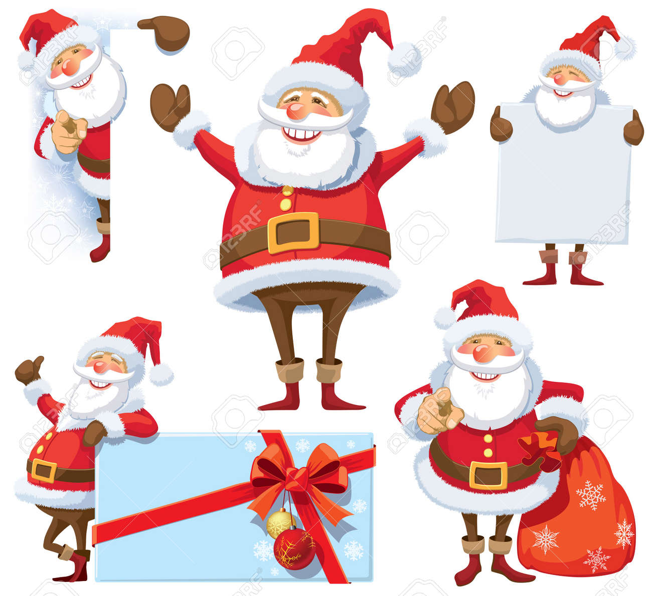 Santa Claus posing in several poses with gifts, bag and posters. Standard-Bild - 22033073
