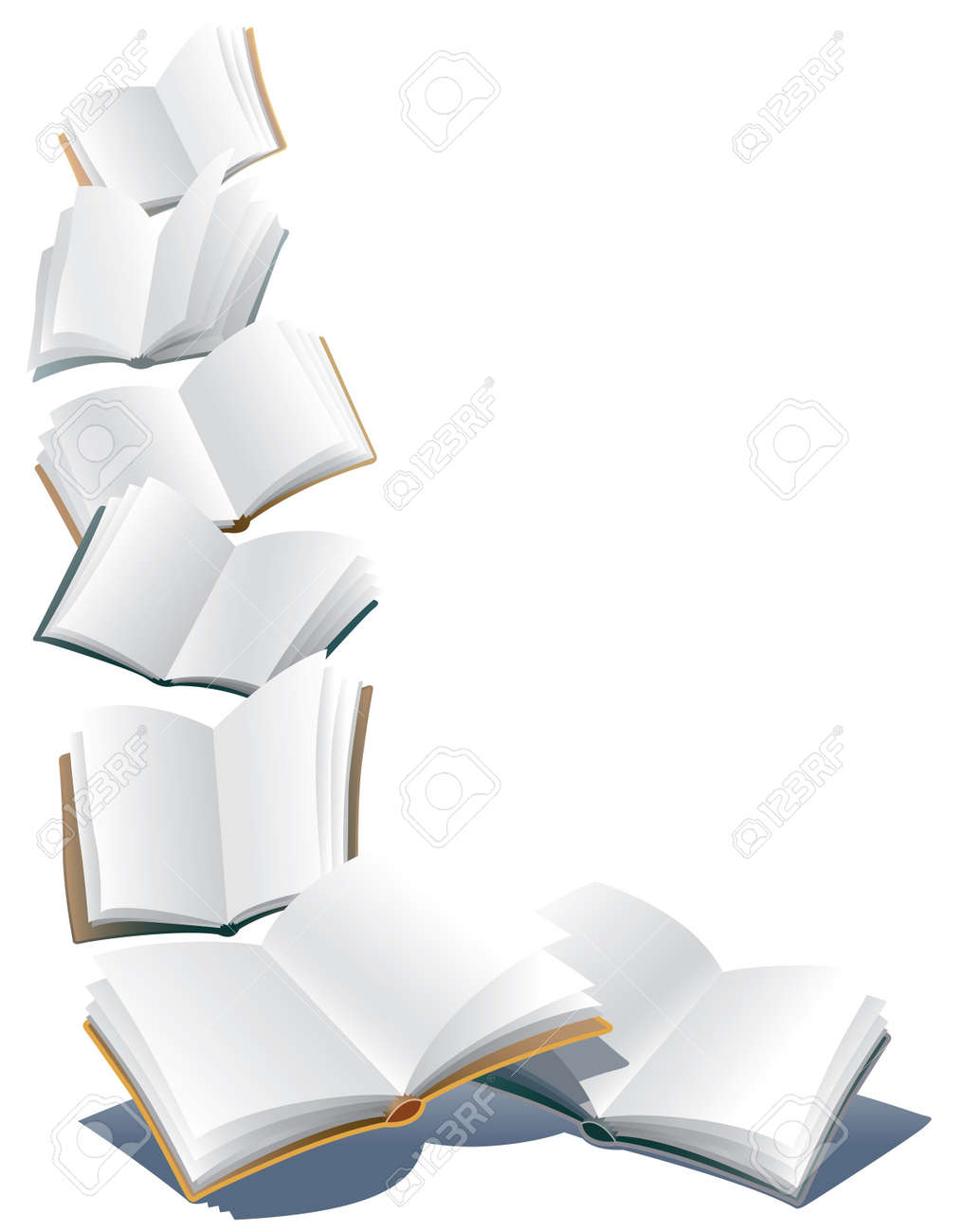 Flying open books over abstract white background Stock Vector - 22125664