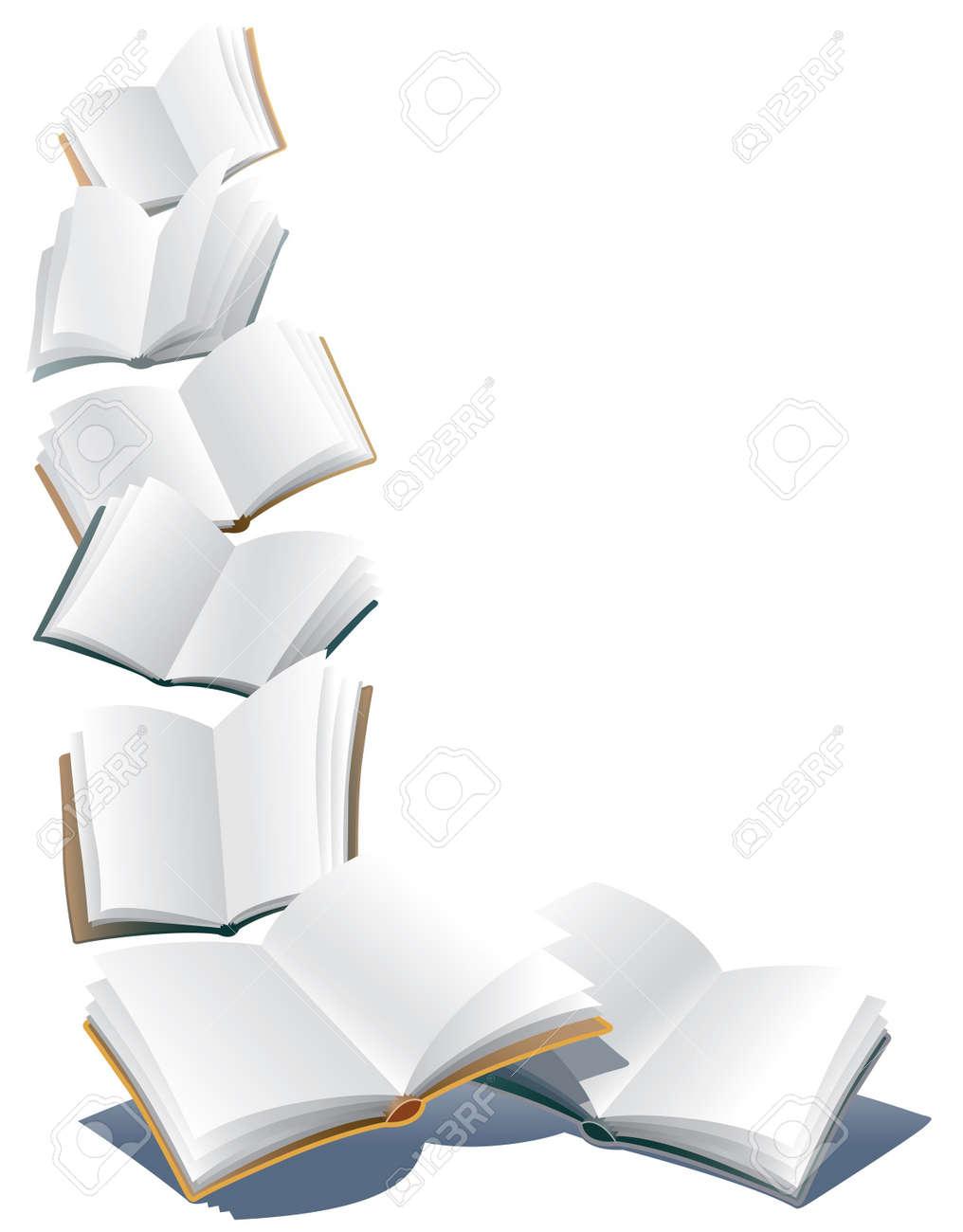 Voler Des Livres Ouverts Sur Fond Blanc Resume