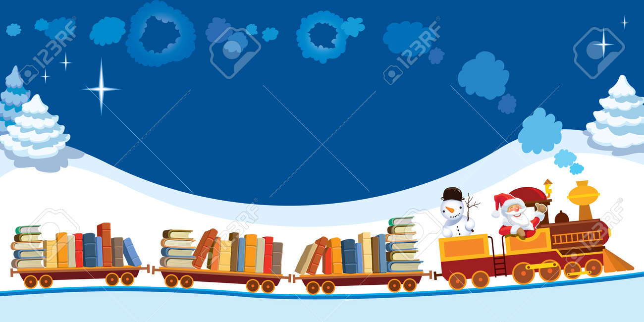 Santa Claus and snowman in a toy train with books. Standard-Bild - 22125489