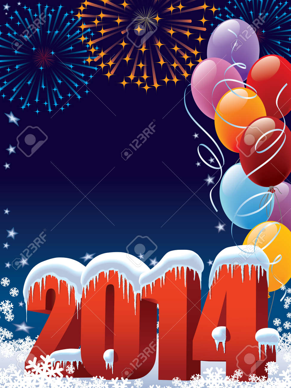 New Year 2014 decoration with copy space for your message Standard-Bild - 23293232