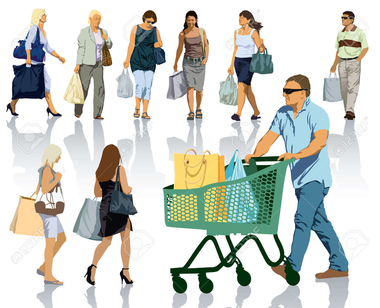 Set of people silhouettes. Happy shopping people holding bags with products. Standard-Bild - 23293476