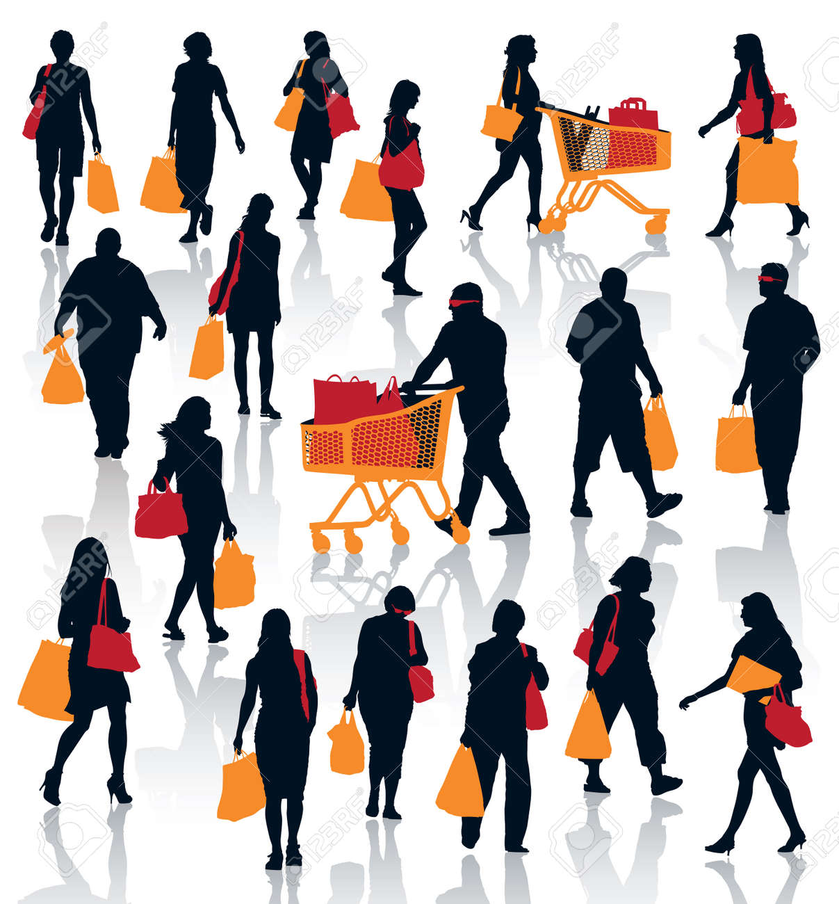 Set of people silhouettes. Happy shopping people holding bags with products. Standard-Bild - 23289463