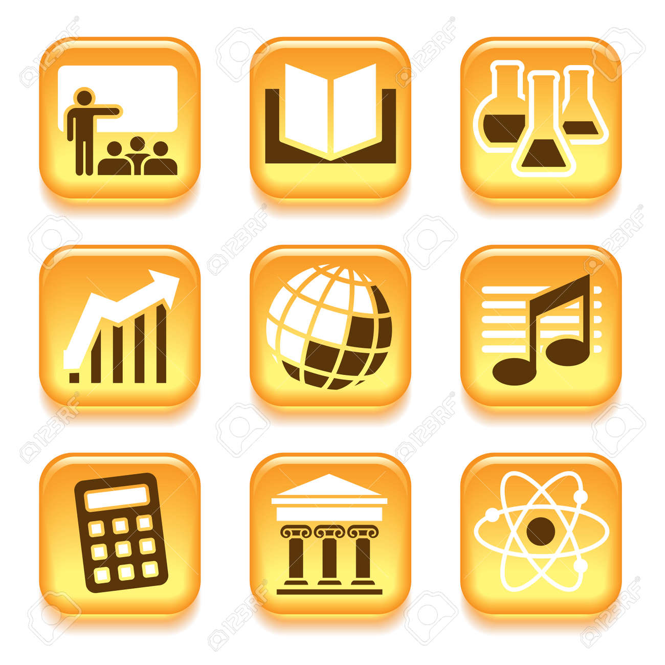 school subjects icons set over white background royalty free
