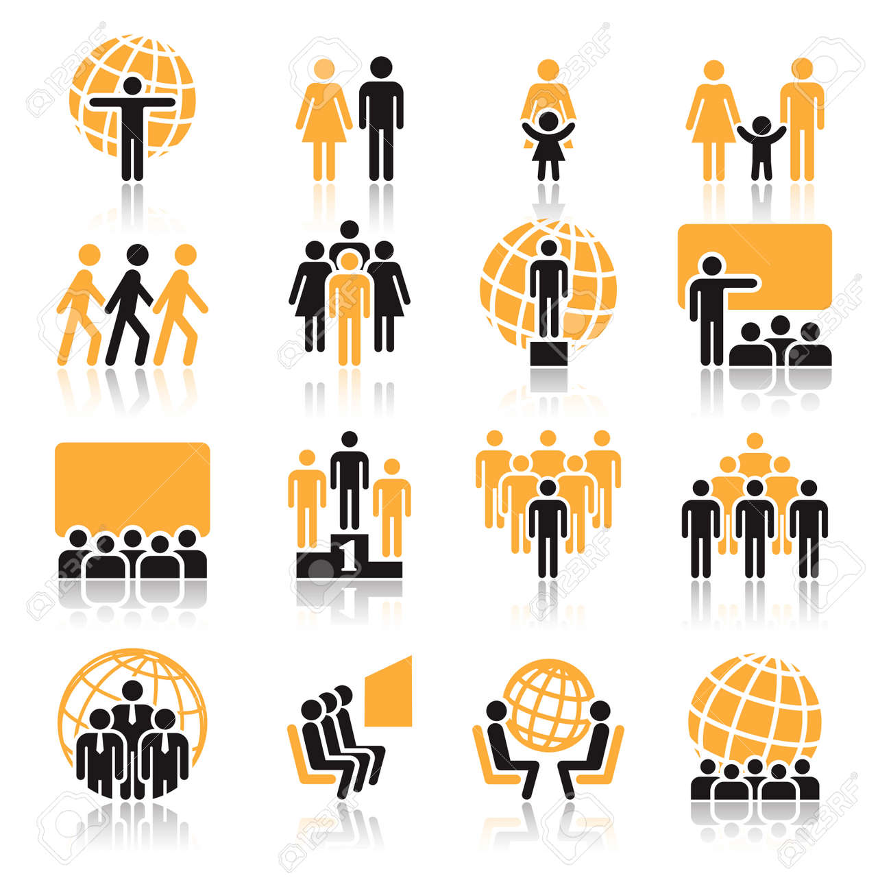 People, collection of orange and black icons over white background Standard-Bild - 24541036