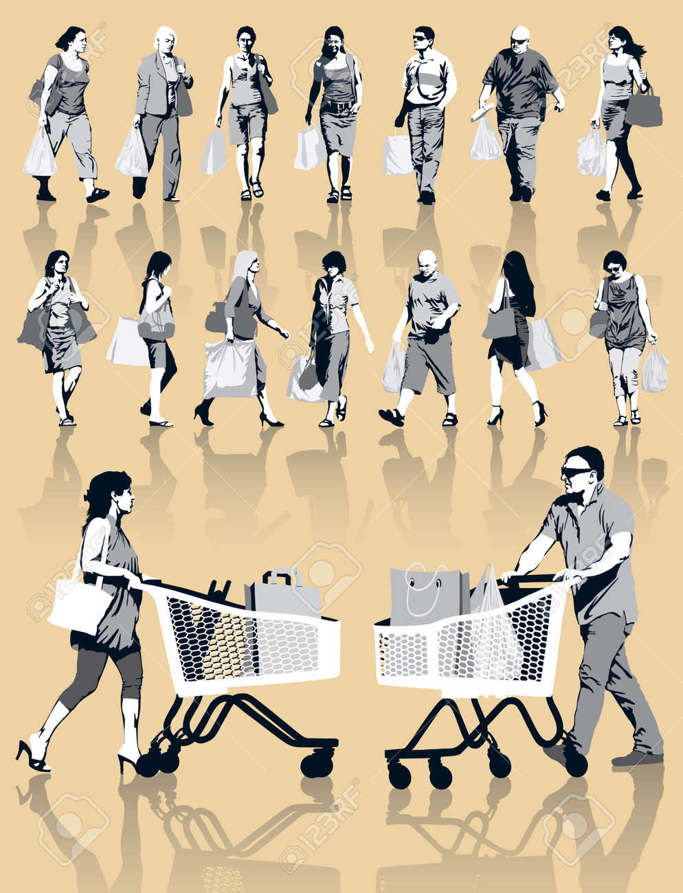 Set of people silhouettes. Happy shopping people holding bags with products. EPS 10. Standard-Bild - 24804180