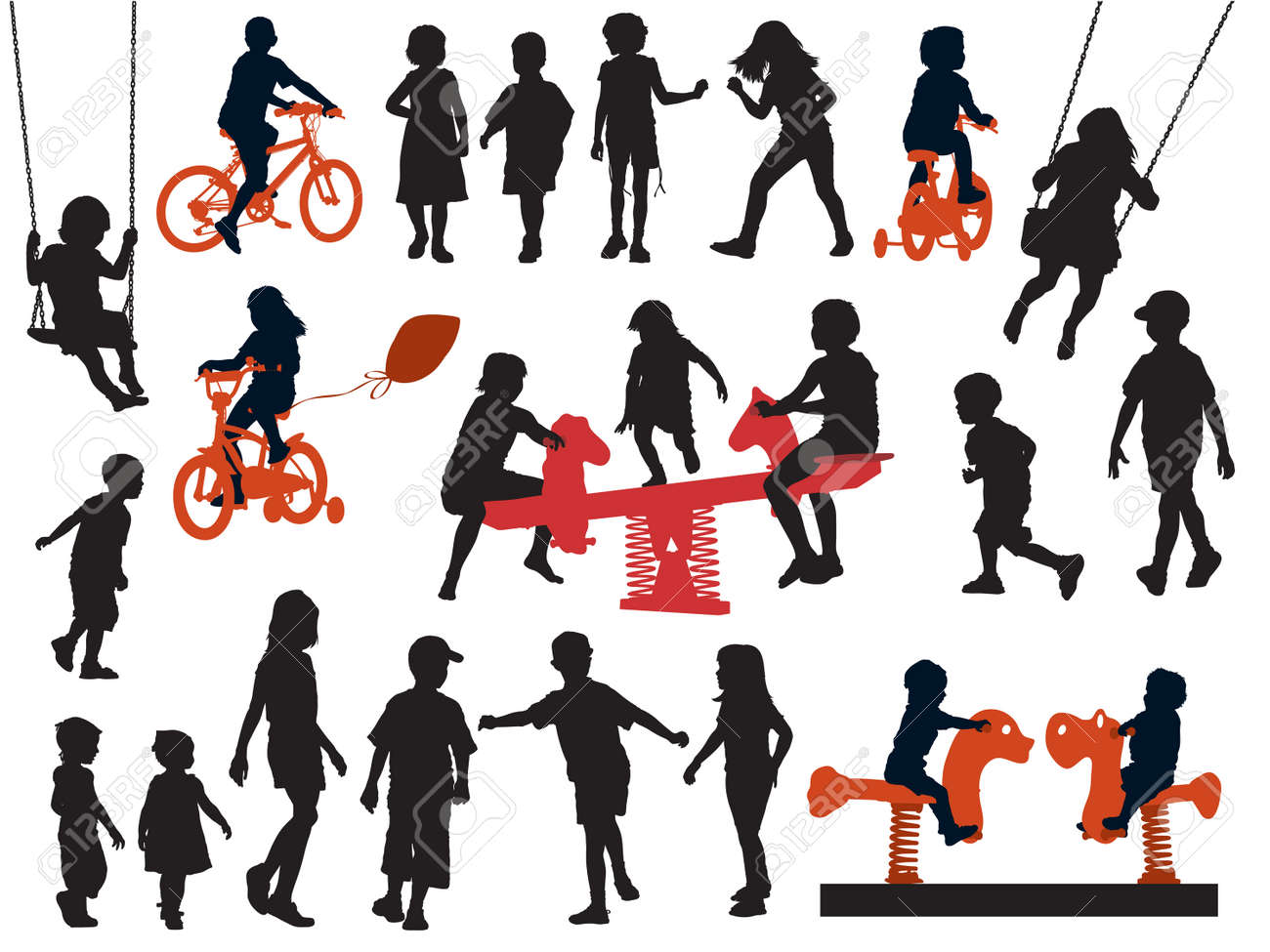 A set of silhouettes, children playing in a playground. Standard-Bild - 24933698