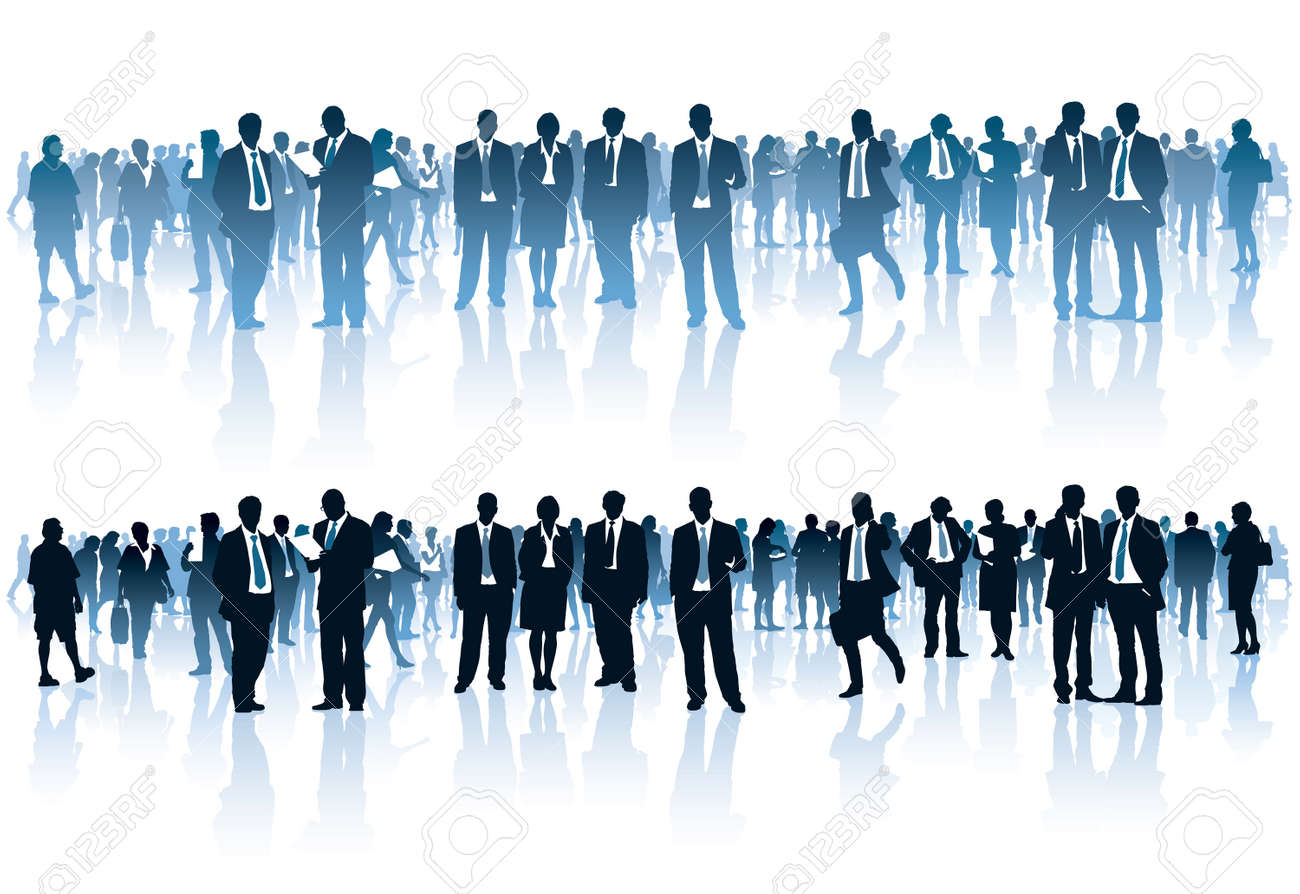Crowd of businesspeople standing over white background Standard-Bild - 27528568