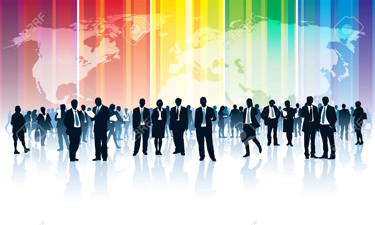 Crowd of businesspeople standing over a world map with a rainbow Standard-Bild - 32393447