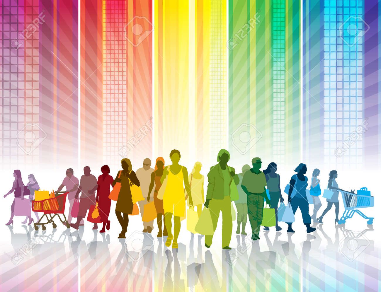Crowd of shopping people in a colorful city Standard-Bild - 32558548