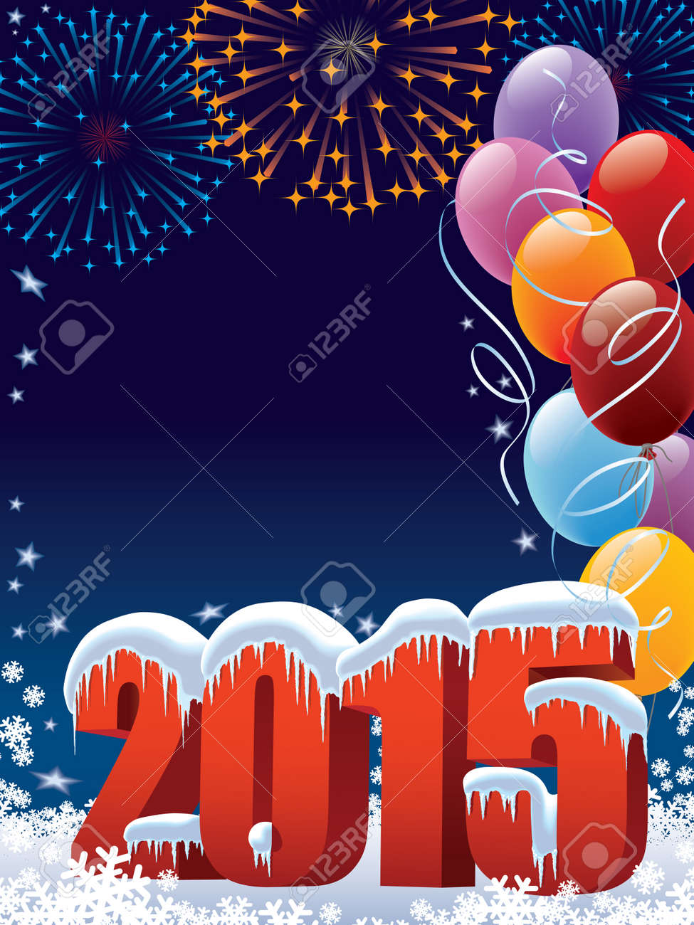 New Year 2015 decoration with copy space Standard-Bild - 32558571