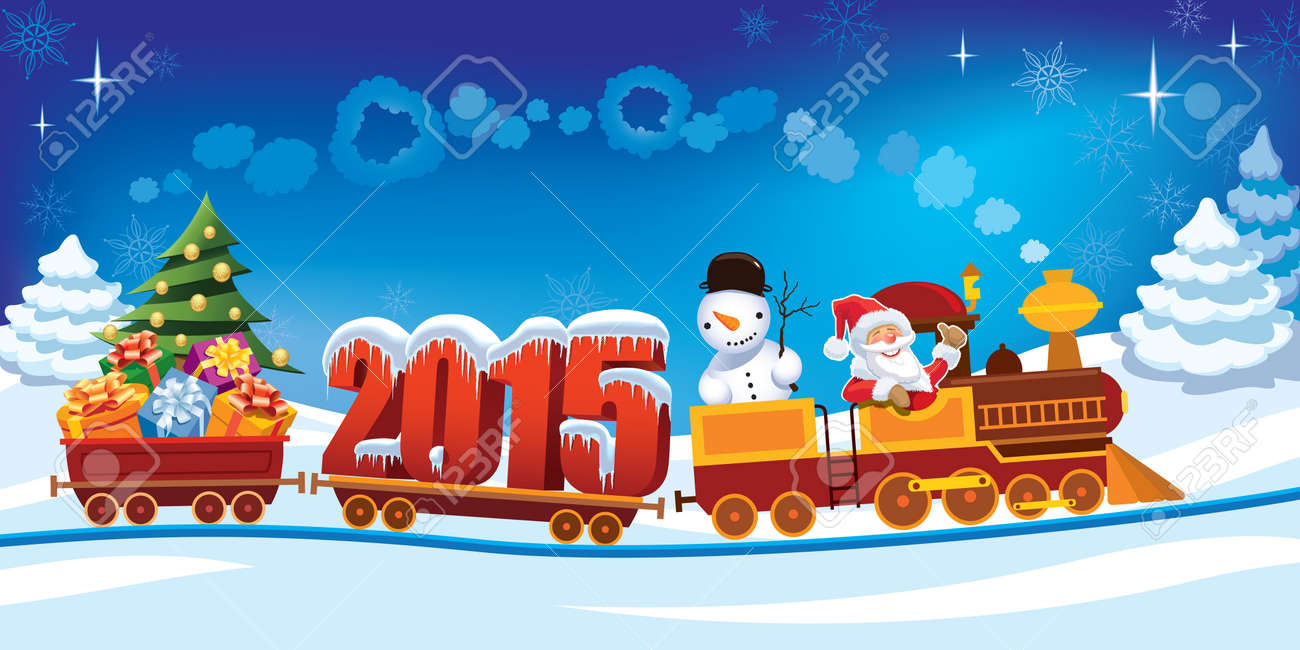 New Year 2015 and Santa Claus in a toy train with gifts, snowman and christmas tree. Standard-Bild - 32570596