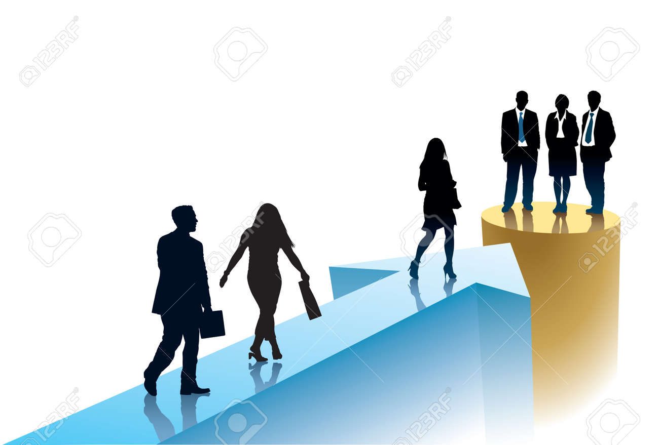 Successful businesspeople are going to one target Standard-Bild - 32616311