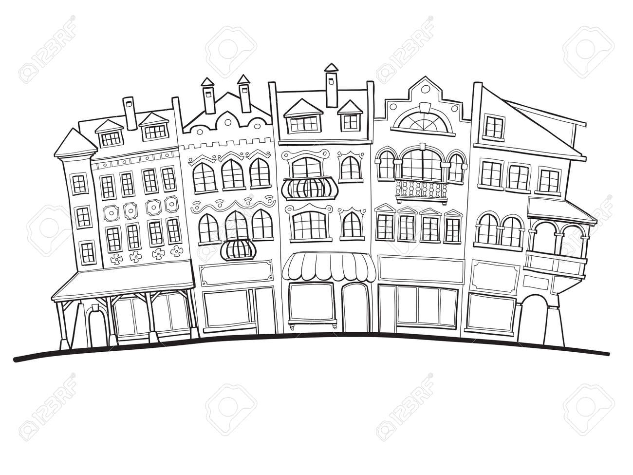 Drawing Of Old City Street Facades Houses And Shops Stock Vector