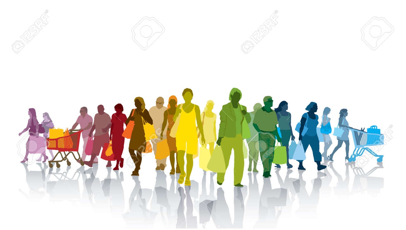 Colorful crowd of shopping people. Happy people holding shopping bags Standard-Bild - 32891455