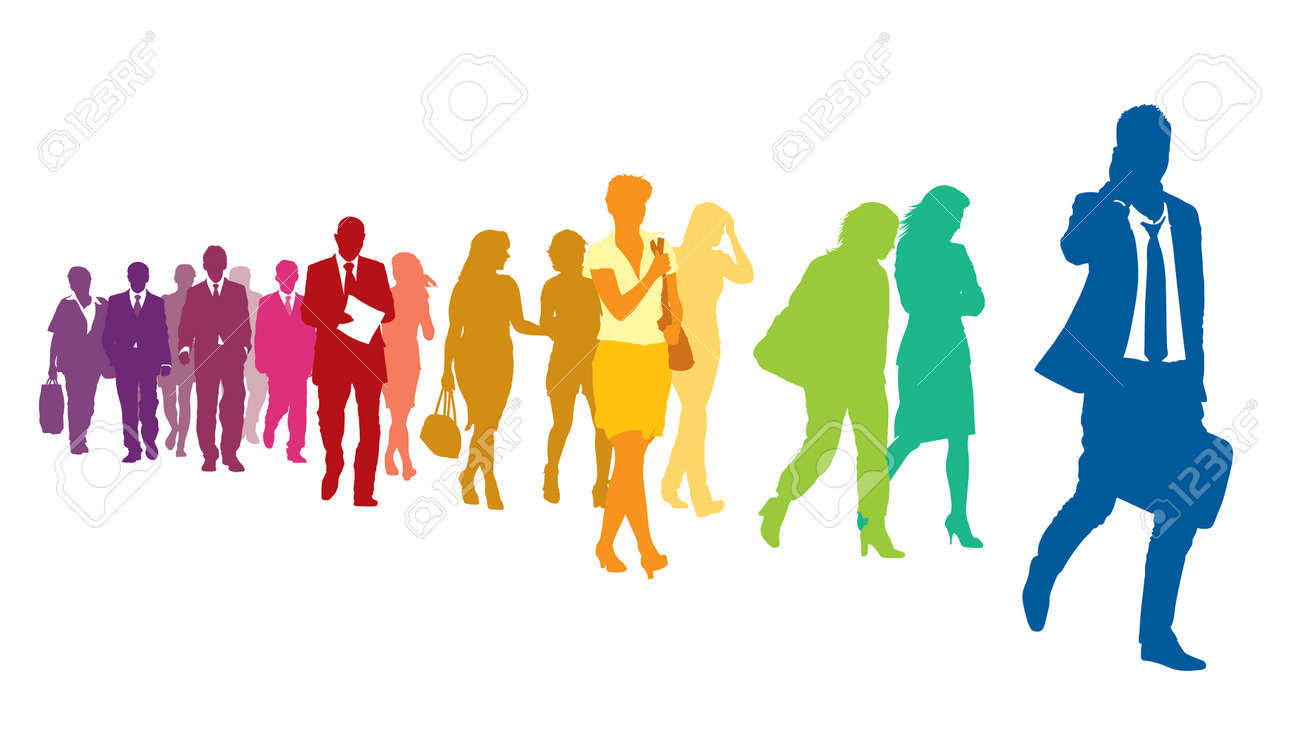 Crowd of colorful walking people over a white background. Standard-Bild - 32947919