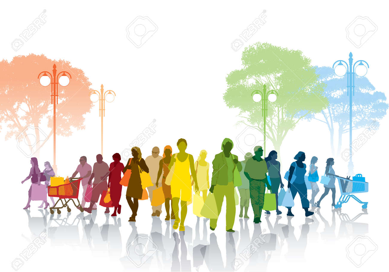 Colorful crowd of shopping people walking on a street. Standard-Bild - 34140267