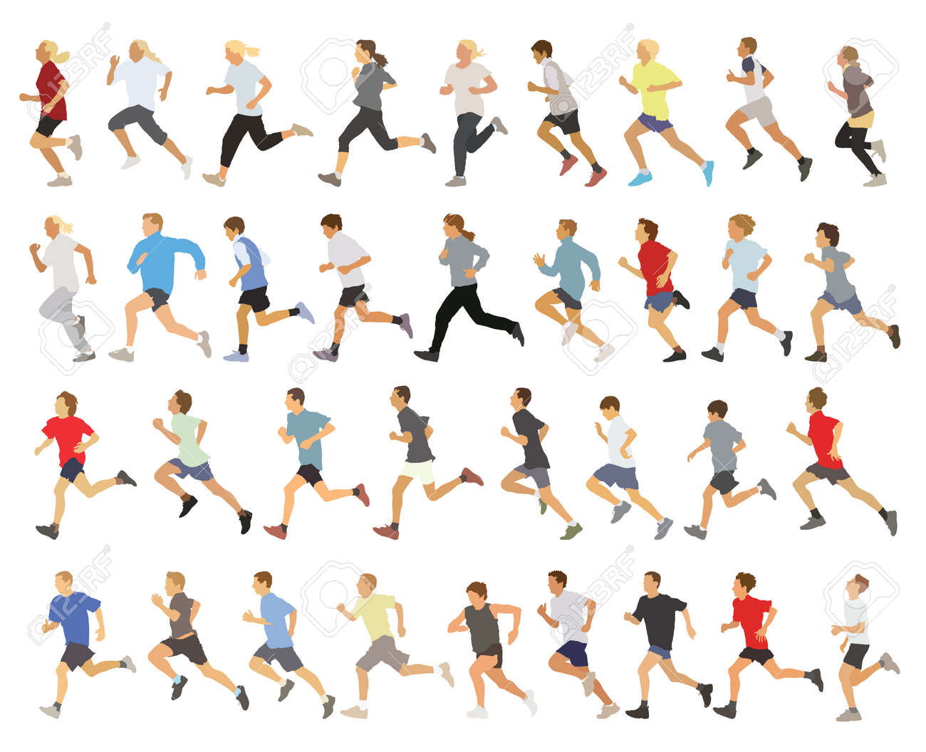 Large collection of running silhouettes, teenagers, boys and girls. Standard-Bild - 34150297