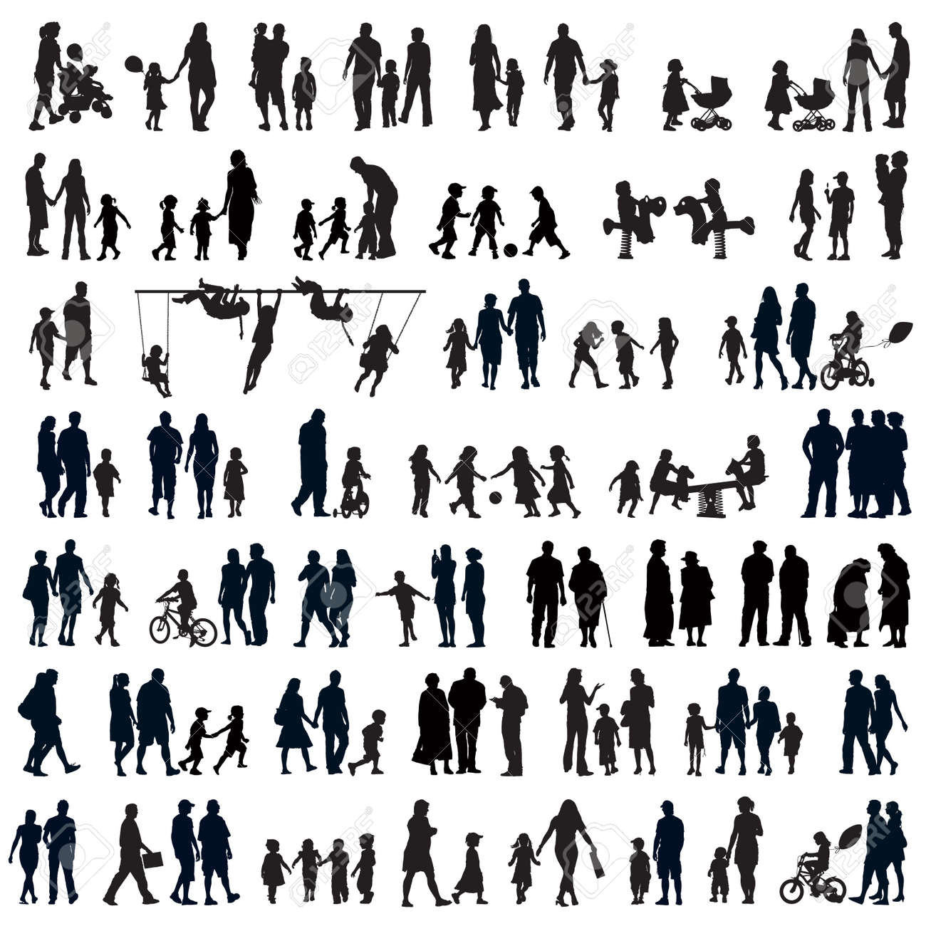 Large set of people silhouettes. Families, couples, kids and elderly people. Standard-Bild - 34577240