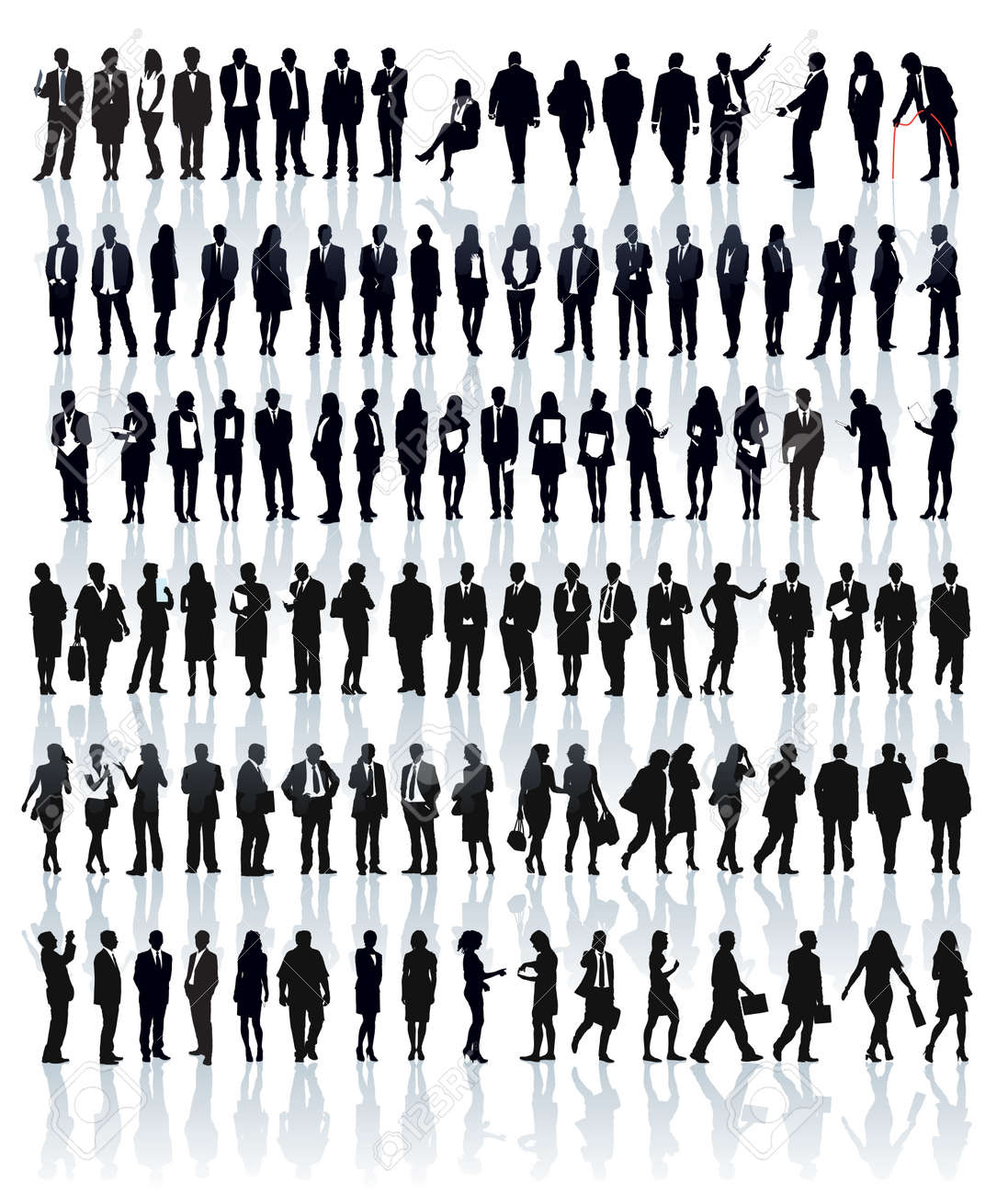 Large set of people silhouettes. Businesspeople; men and women. Standard-Bild - 34605674
