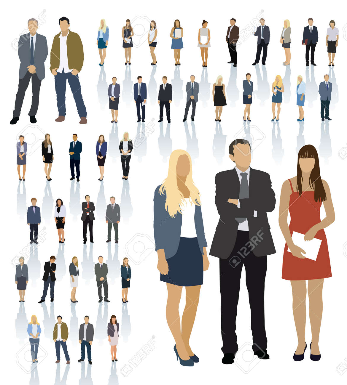 Large colorful set of people silhouettes. Businesspeople; men and women. Standard-Bild - 34657661