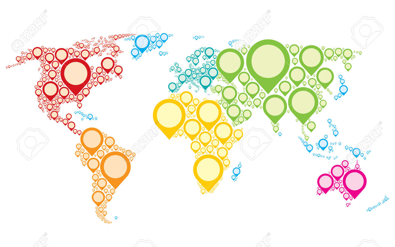 Colorful world map showing earth with all continents royalty free colorful world map showing earth with all continents stock vector 36176154 gumiabroncs Choice Image