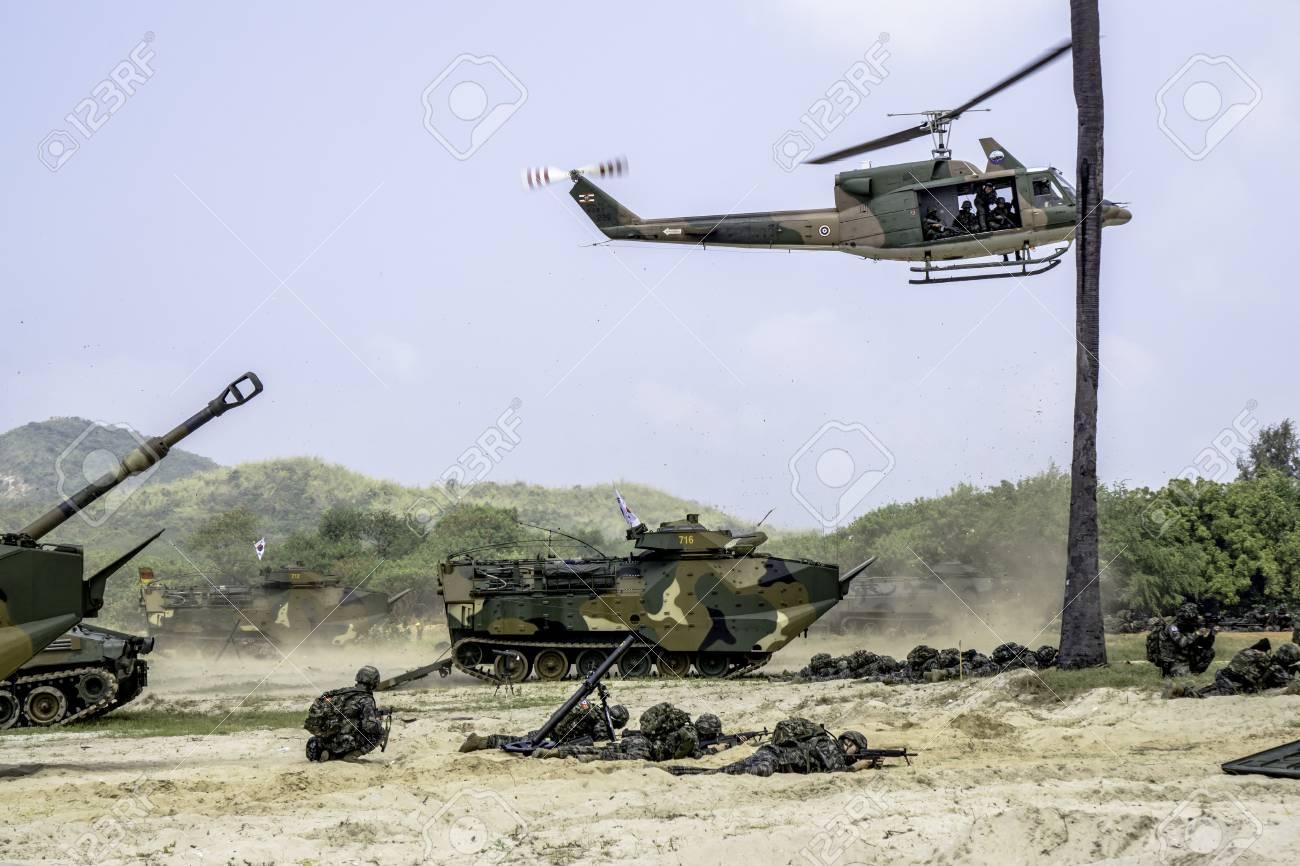 CHONBURI, THAILAND - FEBRUARY 17, 2018: Amphibious forces comprise